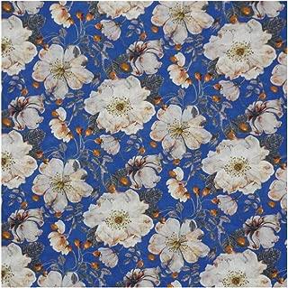 Cream & Royal Blue Floral 'Dorset Rose' Liberty Lawn Cotton Handkerchief