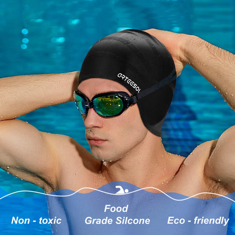 arteesol Gorro de natación de Silicona Antideslizante y Resistente al Agua para Mujeres y Hombres, Negro: Amazon.es: Deportes y aire libre