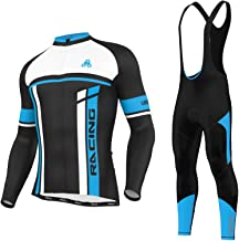 Men's Urban Cycling Team Thermal Winter Fleece Jersey, Bib Tights, and Winter Cycling Set Bundle, Long Sleeve