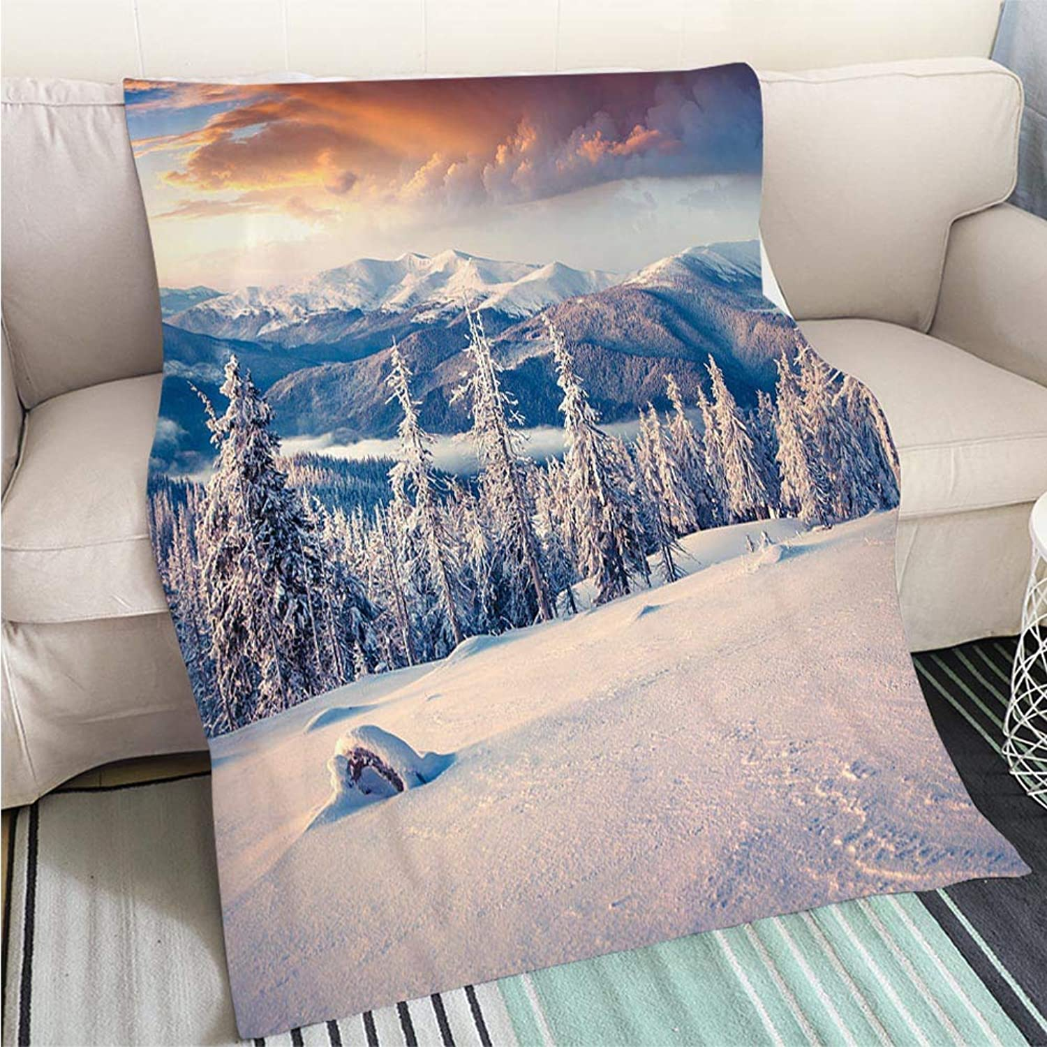 BEICICI Art Design Photos Cool Quilt colorful Winter Sunrise in The Carpathian Mountains Fashion Ultra Cozy Flannel Blanket