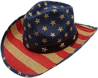 bf4c14413be Unisex Vintage Stars Leather Band Cowboy Western Straw Hat Adjust Chin  Strap Hemming Brim Ranchero Cap