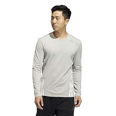 adidas Aero 3-Stripes Cold Weather Long Sleeve Tee (Metal Grey) Men
