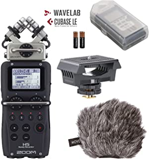 Zoom H5 4-Track Handy Recorder with Movo Filmmakers Bundle with Rubberized Camera Shockmount and Deadcat Windscreen