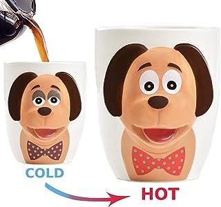 Heat Color Changing Coffee Mug - Cute & Funny 3D Dog Cup - Large 18 oz Heat Sensitive Magic Mugs - Unique Gift Idea for Dog Lovers, Women, Mom, Men, Birthday, Kids - Novelty Ceramic Tea Cups