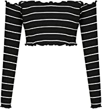 Mixfeer Women's Sexy Off Shoulder Strapless Long Sleeve Casual Rib-Knit Crop Top