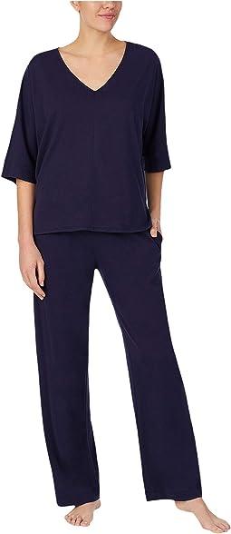 Cotton Jersey V-Neck Pajama Set