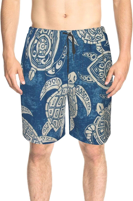 Men's Swim Shorts Sea Turtles Blue Swim Board Shorts Drawstring 3D Printed Summer Boardshorts with Pockets