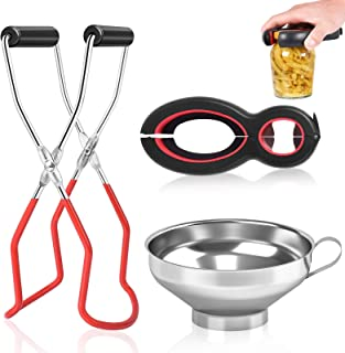 Canning Kit,Canning Jar Lifter Tongs with Grip Handle,6-in-1 Multi Bottle Opener,Stainless Steel Canning Funnel for Wide M...