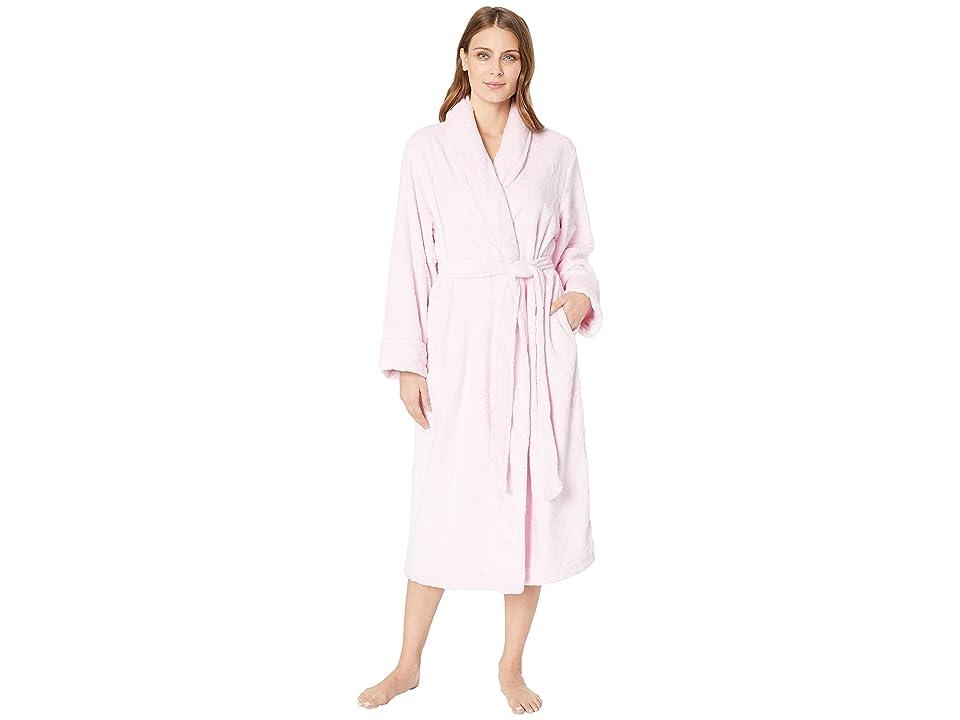 Nautica Long Cable Plush Robe (Pink) Women