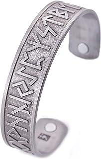 comprar comparacion VASSAGO - Pulsera magnética para terapia médica, estilo vintage, estilo nórdico vikingo, para hombres y mujeres