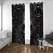 Coffee Shade Light Curtain Doodle Cafe Pattern with Heart Mocha Espresso Beverage Latte Curved Vibes Print Kitchen/Bedroom Window Treatments Home Decoration Black White