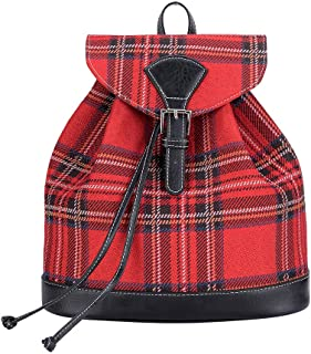Signare Tapestry Fashion Backpack Rucksack for Women with Red Royal Stewart Tartan (RUCK-RSTT)