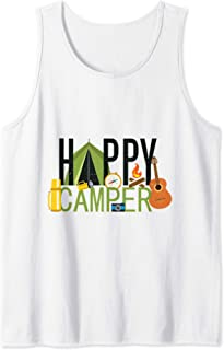 Summer Outdoor Gift For Tent Camping Lovers Happy Camper Tank Top
