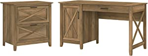 Bush Furniture Key West Computer Desk with Storage and 2 Drawer Lateral File Cabinet, 54W, Reclaimed Pine