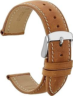 WOCCI Cinturini Orologi Vintage in Pelle con Fibbia in Argento Inossidabile, Cinturino di Ricambio 14mm 16mm 18mm 19mm 20m...