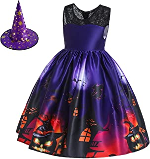 HIHCBF Girls Halloween Witch Costume Fancy Dress Up w/Witch Hat Kids Ghost Pumpkin Skull Printed Cosplay Party Outfits