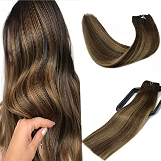 Clip In Human Hair Extensions Double Weft Brazilian Hair 120g 7pcs Chocolate Brown to Dark Blonde Highlight Chocolate Brown Full Head Silky Straight 100% Human Hair Clip In Extensions 20 Inch