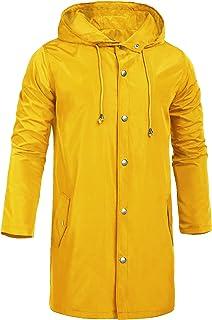 ZEGOLO Men's Raincoats Waterproof Jacket with Hood Windbreaker Breathable Lightweight Outdoor Long Rain Jacket for Men S-XXL