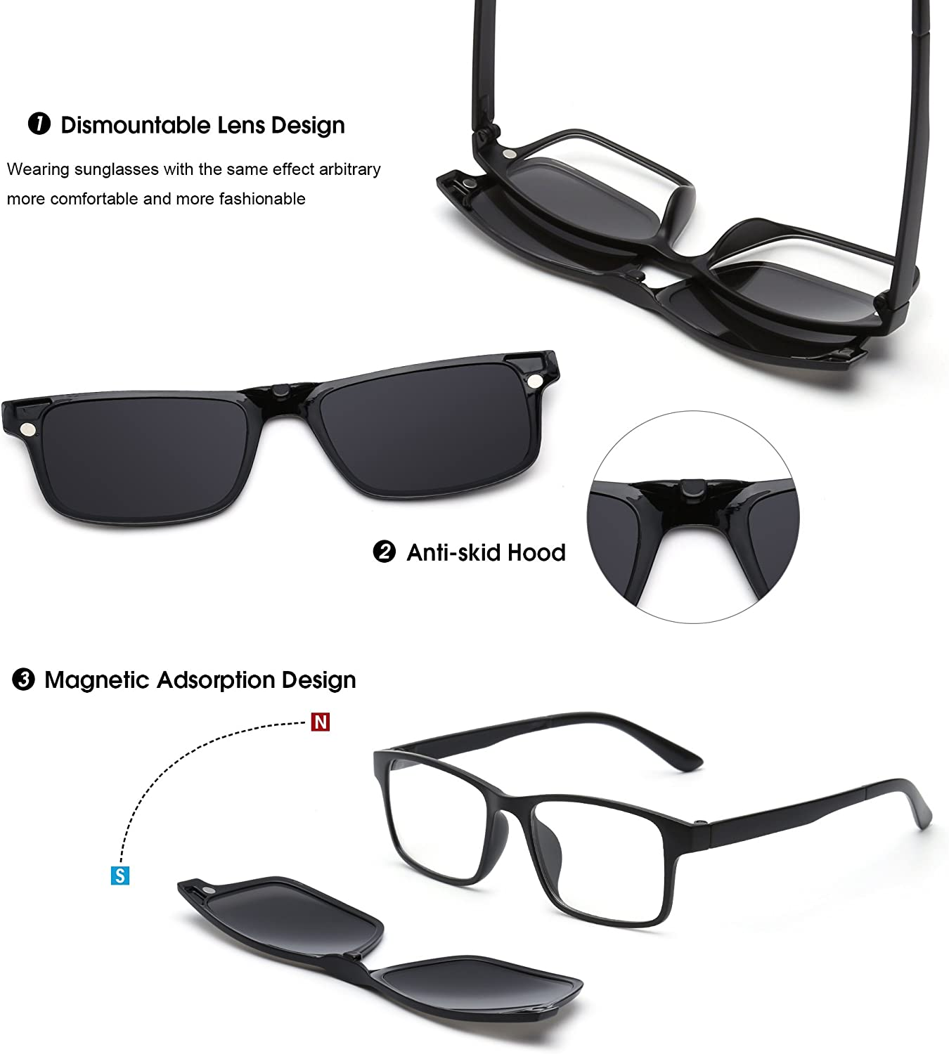 Magnetic 5Pcs Polarized Clip-on Sunglasses Plastic Frame for Night Driving