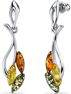 Baltic Amber Leaf Dangle Earrings Sterling Silver Multiple Color