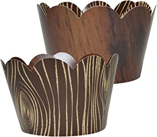 Wood-Grain Cupcake Wrappers – 36 | Wild One, Woodland Animal Baby Shower..