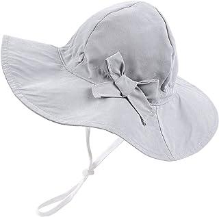 Nœud Chapeau Bébé Fille Large Bord Chapeau de Soleil UPF 50 Protection Solaire Réglable Masqutte pour Enfant Fille 6 Mois ...