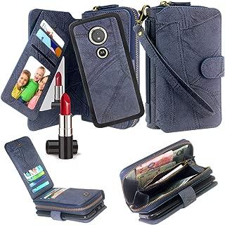 Moto G6 Play Case, Harryshell Luxury Detachable Magnetic Zipper Wallet Case Clutch Purse 11 Card Slots Mirror Handstrap for Motorola Moto G6 Play/Moto G6 Forge (Blue)