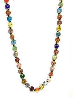 Genuine Venice Murano Sommerso Aventurina Glass Bead Long Strand Necklace in Multi-color, 26+2