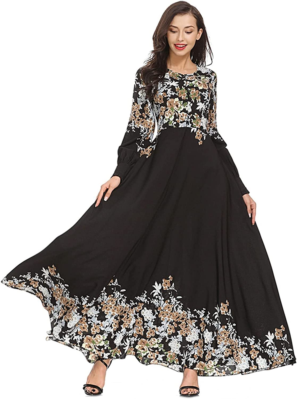 Maryia Women's Muslim Ethnic Maxi Dress Floral Print Long Sleeve Flowy Abaya Islamic Tunics Casual Party Dresses