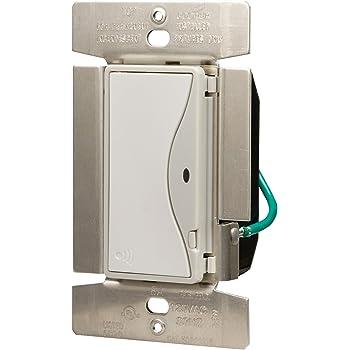 Eaton RF9518WS ASPIRE RF Single-Pole Wireless Light Switch, 8-Amp, White Satin Finish