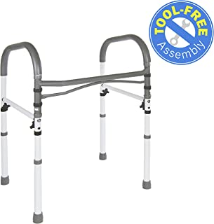 Vaunn Deluxe Bathroom Safety Toilet Rail - Adjustable Toilet Safety Frame - Medical Handrail Assist Grab bar Handle
