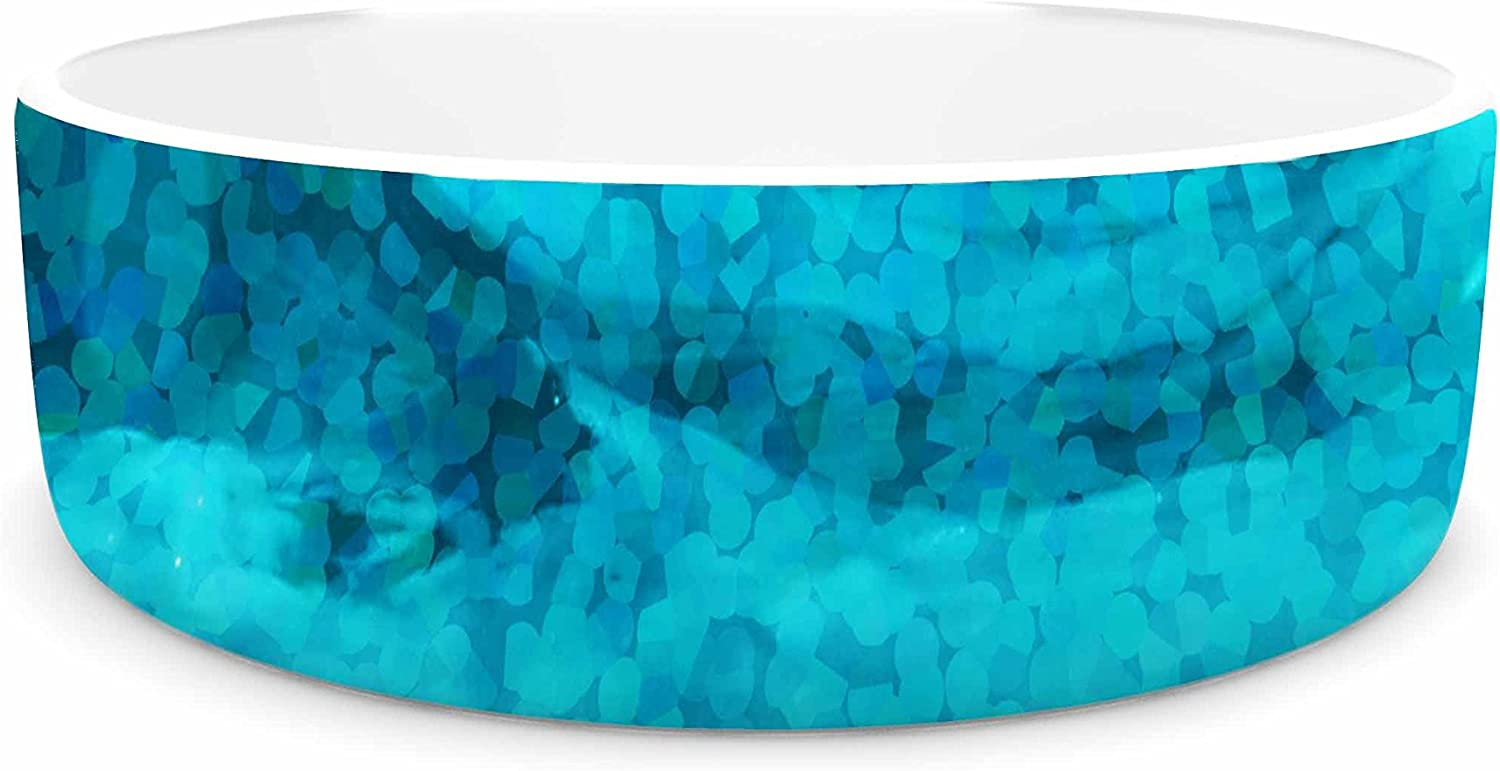 KESS InHouse Suzanne Carter Confetti Ocean bluee Teal Digital Pet Bowl, 4.75  Diameter