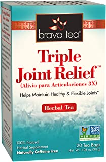 Bravo Tea Triple Joint Relief Herbal Tea, Caffeine Free, 20 Tea Bags (Pack of 6), 6 Count