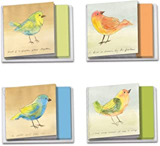 The Best Card Company - 12 Beautiful Blank Note Cards Bulk (4 x 5.12 Inch) (4 Designs, 3 Each) - Watercolor Tweets MQ4633O...