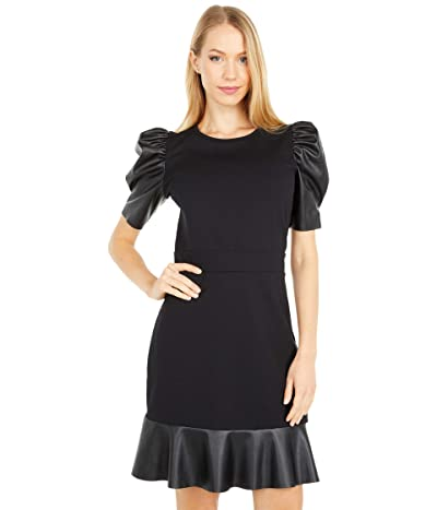 MICHAEL Michael Kors Ponte Leather Mix Ruffle Dress (Black) Women