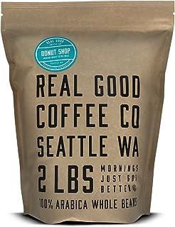 Real Good Coffee Company - Whole Bean Coffee - Donut Shop Medium Roast Coffee Beans - 2 Pound Bag - 100% Whole Arabica Bea...
