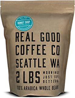 Real Good Coffee Whole Bean Coffee, Donut Shop Medium Roast Coffee Beans, 2 Pound Bag