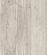 ورق جدران قابل للإزالة بألواح خشبية واسعة من يورك وولكفيترينجز، رمادي/أسود/أوف وايت