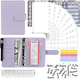 MUACL 28 Pieces of A6 Leather Binder Cover, 12 Budget Cards, 8 Waterproof Binder Pockets, 2 Card Pockets, 2 Letter Sticker...