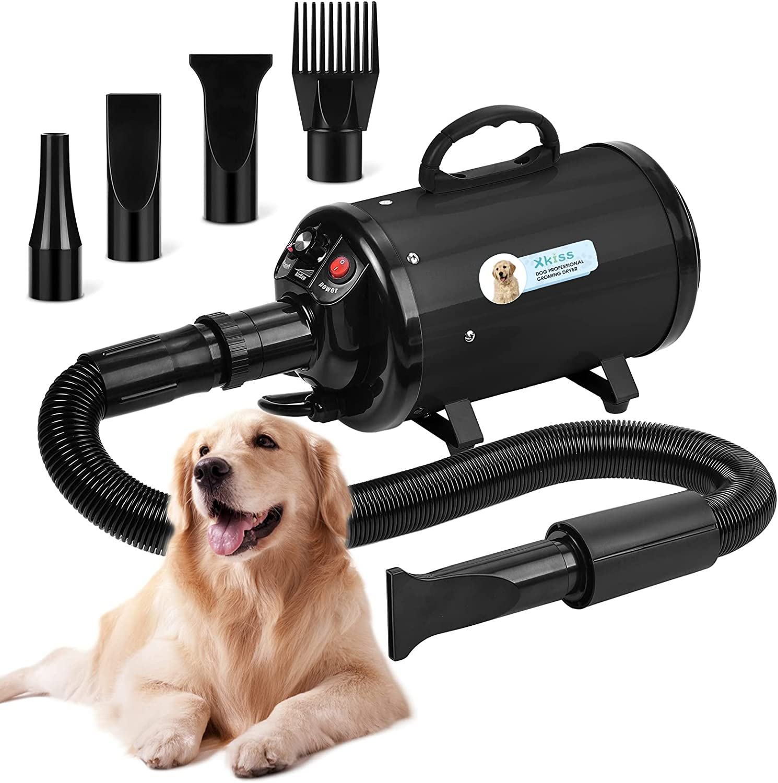 XKISS Secador de perros 3,2 CV / 2800 W Secador de perros sin niveles con velocidad ajustable (negro)