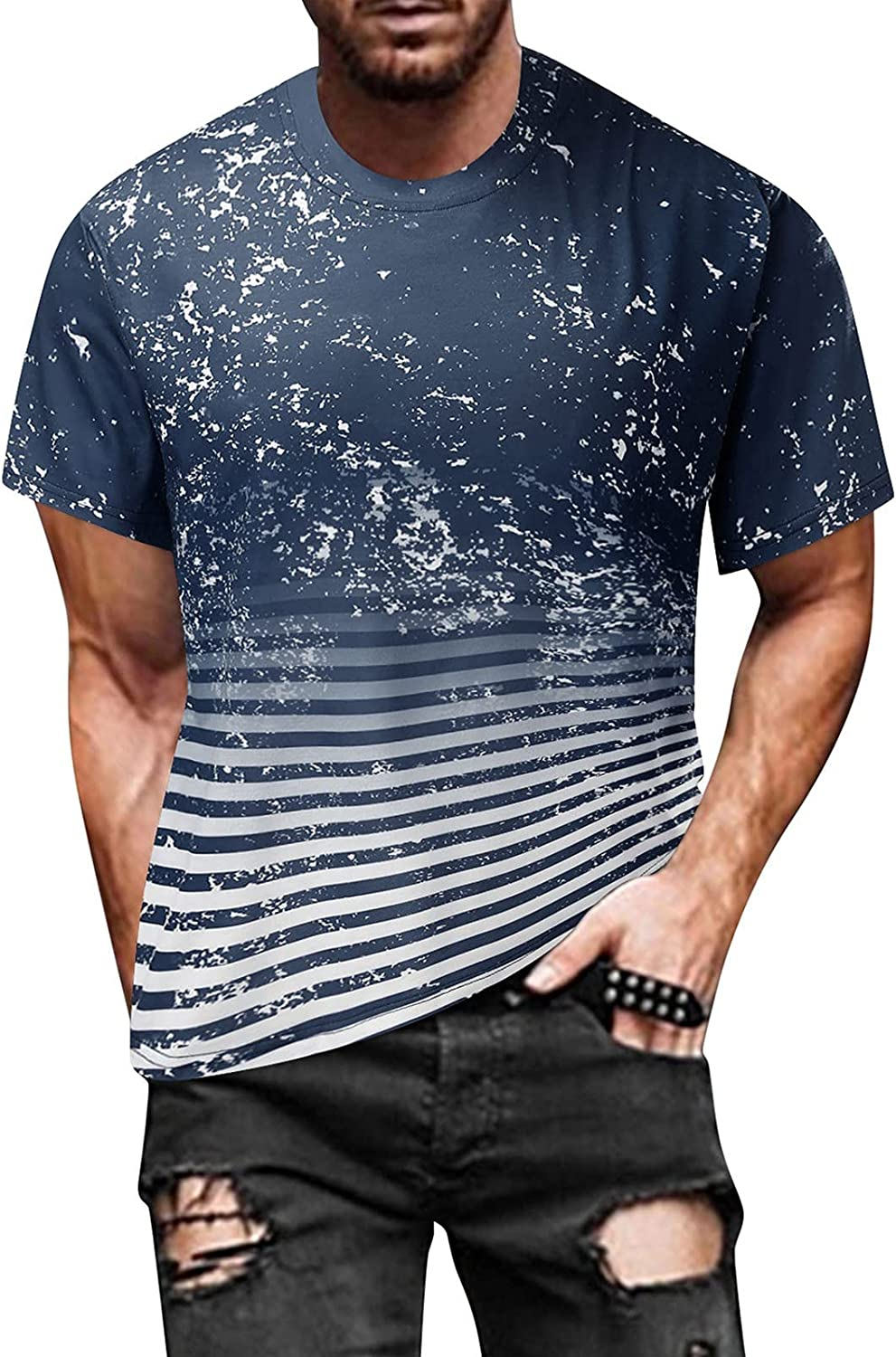 FUNEY Fashion T-Shirt for Men Muscle Gym Workout Athletic Shirt Pleated Raglan Sleeve Bodybuilding Cotton Tee Shirt Top