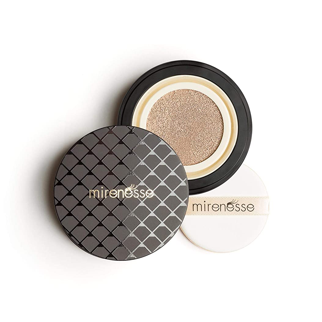 学期添加剤古風なMirenesse Cosmetics 10 Collagen Cushion Foundation Compact Airbrush Liquid Powder SPF25 PA++ 15g/0.52oz - AUTHENTIC (13 Vanilla)