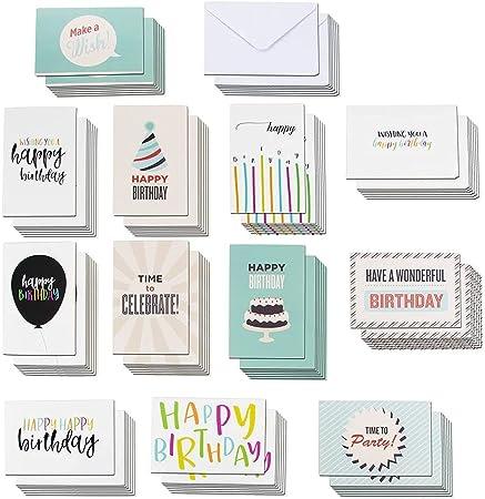 Happy Birthday Cards with Envelopes, 120 Bulk Pack, Blank Inside