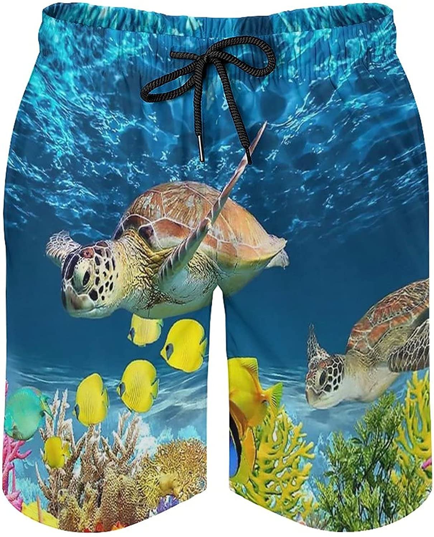 Modern Sea Turtle Men's Swim Trunks Quick Dry Soft Beach Shorts with Mesh Lining Swim Board L
