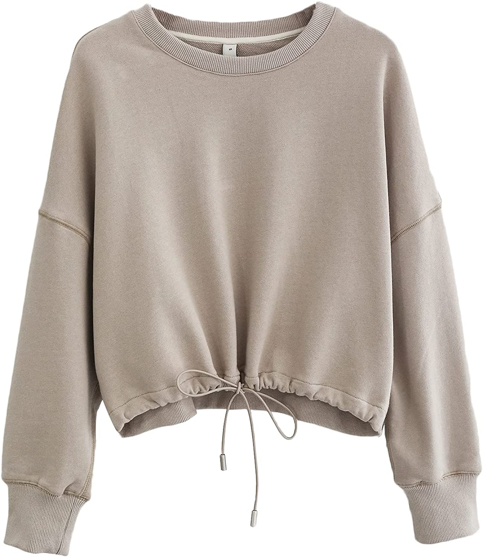 Amazhiyu Women's Pullover Cropped Crewneck Hoodie Casual Long Sleeve Crop Top