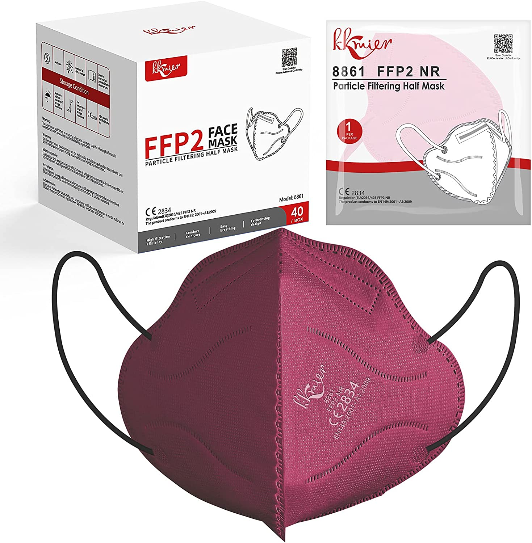 KKmier Mascarillas FFP2 Homologadas 40 Pcs, Mascarilla ffp2 [Certificada CE 2834] con Pendientes Elásticos y Clip Nariz Adaptable, Protección de 5 capas y Filtración de Partículas (EFP) ≥95%