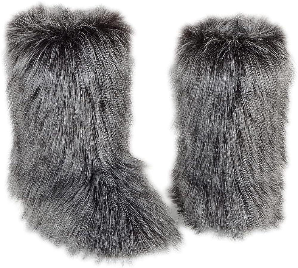 Janveny Womens Faux Fur Snow Boots Faux Fur Headband Faux Fur Bag Three-piece Suit Plush Boots Outdoor