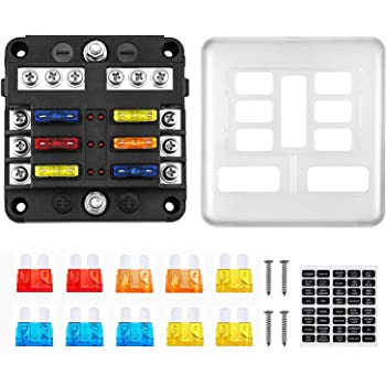 6 Way Fuse Box with LED Light Indication /& Protection Cover Holder Standard Circuit Fuse Holder Box Block for Car Boat Marine Trike Car Truck Vehicle SUV Yacht RV 12-24V 6-circ W//Cover Neg