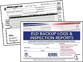 "ELD Backup Log Book with Detailed DVIR – 2-Ply, Carbonless, with Recap, Stock, 8.5"" x 5.5"", English – Book Format - Qty: 5 Units, 10-Logs and 10-DVIR forms per unit – J. J. Keller & Associates"