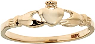14k Solid Yellow Gold Small Girls Claddagh Ring
